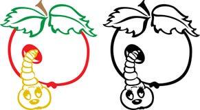 Apple και σκουλήκι Στοκ Εικόνα