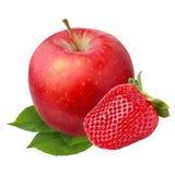 Apple και φράουλα που απομονώνονται σε ένα άσπρο υπόβαθρο Στοκ Εικόνες