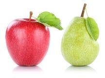 Apple και φρούτα φρούτων αχλαδιών που απομονώνονται στο λευκό Στοκ φωτογραφία με δικαίωμα ελεύθερης χρήσης