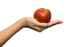 Apple και χέρι - που απομονώνονται στο λευκό Στοκ εικόνα με δικαίωμα ελεύθερης χρήσης