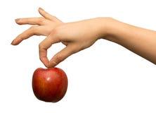 Apple και χέρι - που απομονώνονται στο λευκό Στοκ Εικόνες