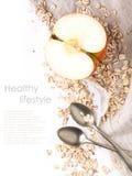 Apple και oatmeal πέρα από το λευκό Στοκ Φωτογραφίες