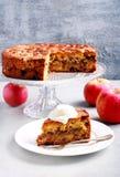 Apple, κανέλα, σταφίδα και κέικ καρυδιών με το κάλυμμα θίχουλων Στοκ Φωτογραφίες