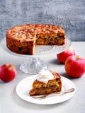 Apple, κανέλα, σταφίδα και κέικ καρυδιών με το κάλυμμα θίχουλων Στοκ Εικόνες