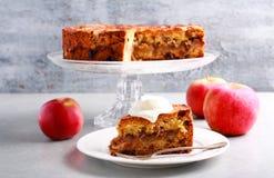 Apple, κανέλα, σταφίδα και κέικ καρυδιών με το κάλυμμα θίχουλων Στοκ φωτογραφία με δικαίωμα ελεύθερης χρήσης