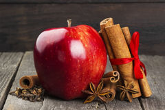Apple, κανέλα, anisetree σε ένα σκοτεινό ξύλινο υπόβαθρο Στοκ Εικόνα