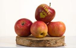 Apple - καρδιά σας αγαπώ Στοκ εικόνες με δικαίωμα ελεύθερης χρήσης