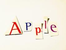 Apple - κολάζ λέξεων διακοπής των μικτών επιστολών περιοδικών με το άσπρο υπόβαθρο Στοκ εικόνα με δικαίωμα ελεύθερης χρήσης