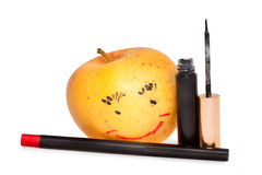 Apple με ένα makeup Στοκ Εικόνες