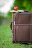 Apple με μια βαλίτσα βιβλίων Στοκ Εικόνες