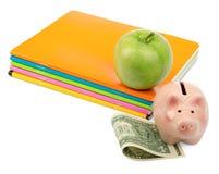 Apple με τα σημειωματάρια, τα μετρητά και τη piggy τράπεζα Στοκ φωτογραφία με δικαίωμα ελεύθερης χρήσης