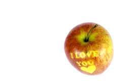Apple με την επιγραφή Στοκ Φωτογραφίες