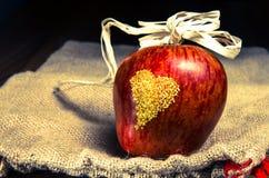 Apple με την καρδιά Στοκ Φωτογραφία