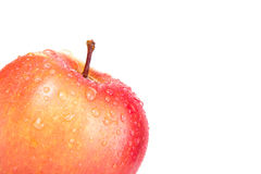 Apple με τις πτώσεις στη γωνία που απομονώνεται σε ένα άσπρο υπόβαθρο S Στοκ φωτογραφία με δικαίωμα ελεύθερης χρήσης