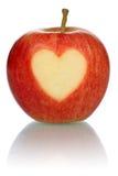 Apple με το θέμα αγάπης καρδιών που απομονώνεται Στοκ εικόνες με δικαίωμα ελεύθερης χρήσης