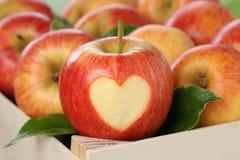 Apple με το θέμα αγάπης καρδιών Στοκ Φωτογραφία
