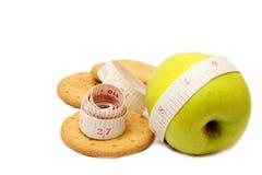 Apple με το μέτρο και τα μπισκότα ταινιών Στοκ Εικόνες
