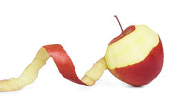 Apple με το ξεφλουδισμένο δέρμα Στοκ Φωτογραφία