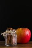 Apple με το φλοιό κανέλας/Apple με την κανέλα/Apple με το φλοιό κανέλας στο μαύρο υπόβαθρο Στοκ Εικόνα