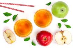 Apple με το χυμό που διακοσμείται με τα πράσινα φύλλα που απομονώνονται στην άσπρη τοπ άποψη υποβάθρου Επίπεδος βάλτε το σχέδιο Στοκ Εικόνα
