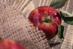 Apple με burlap Στοκ εικόνες με δικαίωμα ελεύθερης χρήσης