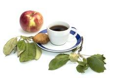 Apple, μπισκότα, φύλλα και φλιτζάνι του καφέ σε ένα πιατάκι με ένα μπλε Στοκ Εικόνα