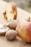Apple, ξύλα καρυδιάς και κέικ Στοκ Εικόνα