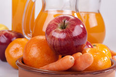 Apple, πορτοκάλι και καρότα Στοκ Εικόνες
