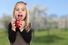 Apple που τρώει τα φρούτα παιδιών κοριτσιών παιδιών υγιή Στοκ Εικόνα