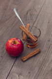 Apple, ραβδιά κανέλας, και ένα γυαλί με το μέλι Στοκ Εικόνα