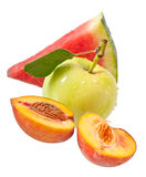 Apple, ροδάκινο και καρπούζι Στοκ Εικόνα