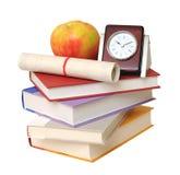 Apple, ρολόι και βιβλία Στοκ Φωτογραφίες