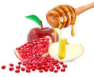 Apple, ρόδι και μέλι Στοκ Φωτογραφίες