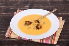 Apple - σούπα κρέμας κολοκύθας Στοκ φωτογραφία με δικαίωμα ελεύθερης χρήσης