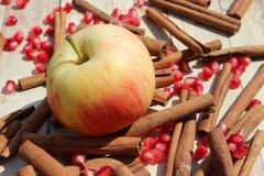 Apple, σπόροι ροδιών και κανέλα Στοκ Φωτογραφίες