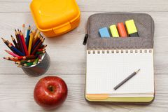 Apple, στάση μετάλλων για τα μολύβια με τα μολύβια χρώματος, κίτρινο sandwi Στοκ Εικόνες