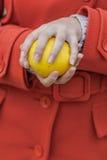 Apple στα χέρια της γυναίκας Στοκ Εικόνες