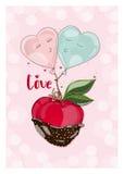 Apple στη σοκολάτα με το μπαλόνι ερωτευμένο Στοκ Εικόνα
