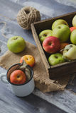 Apple στον ξύλινο πίνακα υπαίθρια Στοκ Εικόνες