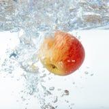 Apple στο νερό σε ένα άσπρο υπόβαθρο Στοκ Φωτογραφίες