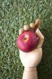 Apple στο ξύλινο χέρι Στοκ εικόνες με δικαίωμα ελεύθερης χρήσης