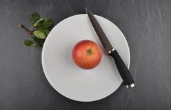 Apple στο πιάτο και το σχιστόλιθο Στοκ Φωτογραφία