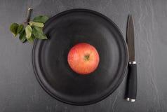 Apple στο πιάτο και το σχιστόλιθο Στοκ εικόνες με δικαίωμα ελεύθερης χρήσης