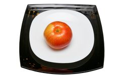 Apple στο πιάτο Στοκ εικόνα με δικαίωμα ελεύθερης χρήσης