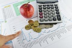 Apple, χρήματα, ρολόι, τηλέφωνο και υπολογιστής που τοποθετούνται στο έγγραφο Στοκ Εικόνες