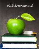 Apple, мелок и карандаш на учебниках стоковая фотография