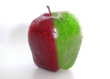 Apple 1. Half red and half green Appel with watter dropsp Royalty Free Stock Photos