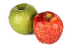 Apple. S, green and red, are photographed on a white background Royalty Free Stock Photos