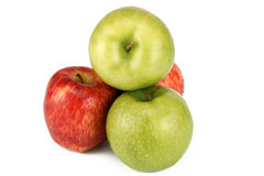 Apple. S, green and red, are photographed on a white background Stock Images