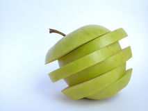 Apple. Green apple in slices Stock Image